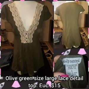 Olive green size large lace detail top